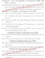 Past Papers 2013 LLB Part 2 Law of Transfer of Property Paper 4