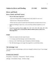 Outline for rivers and flooding ES 1100 fall 2014