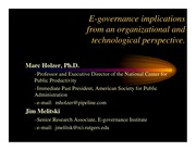 E-government implications from an organizational and technol