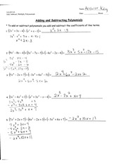 Polynomial Operations Homework