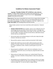 Dietary Assessment Rubric