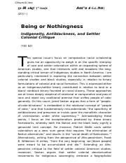Being or Nothingness Indigeneity, Antiblackness, and Settler Colonial Critique.docx