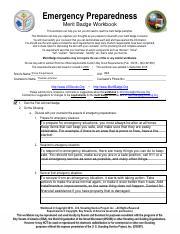 Emergency Preparedeness Pdf Pdf Emergency Preparedness Merit Badge Workbook This Workbook Can Help You But You Still Need To Read The Merit Badge Course Hero
