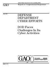 DOD faces challenges in cyber