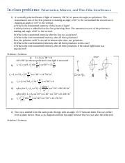Worksheet Problems- MirrorsPolarizationThinFilmInterference (with solutions)
