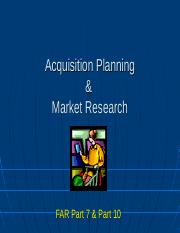 5 Acq Planning & Market Research