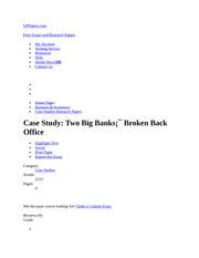 Case StudY Two Big Banks Broken Back Office
