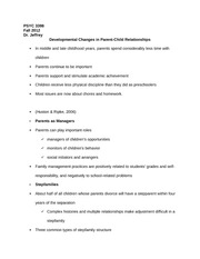 PSYC 3398 Notes on Developmental Changes in Parent-Child Relationships