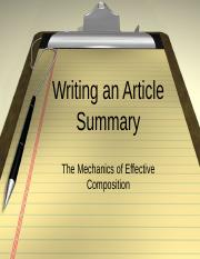 Writing an Article Summary.ppt