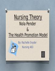 health promotion model nursing theory