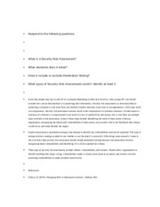 issc 363 Here is the best resource for homework help with issc 363 : it security: risk  management at answer the following lab #1 assessment questions from a risk.