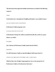 Introduction to Performance studies terms and questions with answers