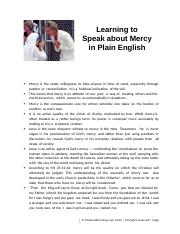 Learning to Speak about Mercy.docx
