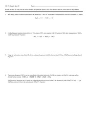 Sample Quiz 5 on General Chemistry