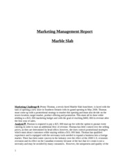 Marketing Management Report- marble slab 1220