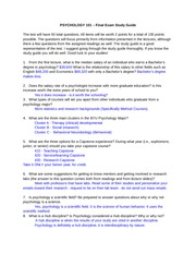 psych 101 final exam Study flashcards on psychology 101 final exam review at cramcom quickly memorize the terms, phrases and much more cramcom makes it easy to get the grade you want.