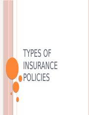 3. Types of insurance policies