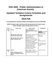 PAD 3003 Fall 2016 Course Shedule and Assignment Dr. Alibasic