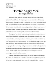 Topics For Argumentative Essays For High School Play Review  Twelve Angry Men Thesis Statement For Analytical Essay also High School Dropout Essay Twelve Angry Men Documents  Course Hero Sample Essay Thesis