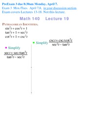 Lecture 19 on Precalculus