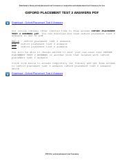 oxford placement test 2 grammar test ответы