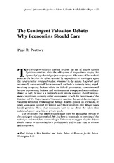 Contingent Valuation Debate Reading