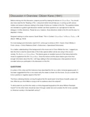 Discussion 4 Overview - Citizen Kane
