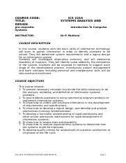 ICS 2210 _Systems Analysis and Design_course ouline