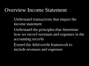 Overview Income Statement