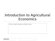 1. Introduction to Agricultural Economics