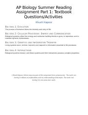 AP Biology Summer Reading Assignment Part 1 Textbook Questions & Activities.docx
