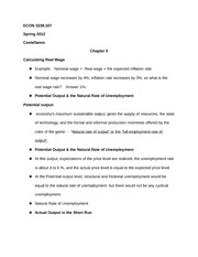 ECON 3339.107 Chapter 5 Notes