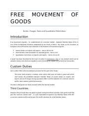 Free Movement of Goods - Custom Duties and Taxes