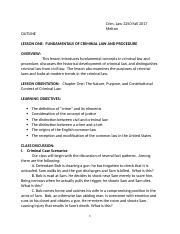 Outline Lesson One  Fundamentals of Criminal Law and Procedure.docx