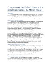 Conspectus of the Federal Funds article from Instruments of the Money Market.docx