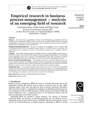 Empirical Research in BPM - analysis of an emerging field of research