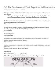 5.3 The Gas Laws and Their Experimental Foundations