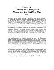 Elias Hill Testimony and Report of the Joint Committee on Reconstruction
