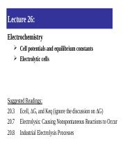 Lecture 26-Equilibrium constants and electrolytic cells