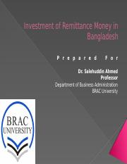 [Presenation]Investment of Remittance Money in Bangladesh