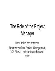 The Role of the Project Manager, 2 WEBCT.ppt
