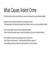 What Causes Violent Crime