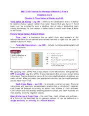 MGT 325 Finance for Managers Module 3 Notes