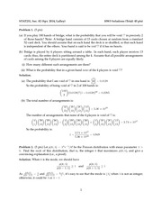 Spring 2014 Problem Set 3-Binomial and Poisson with Solutions