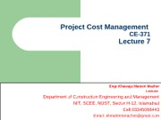 Project Cost Management  (Lec-7)