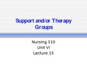 15 Lecture- support and-or therapy groups