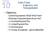 chapter 10--Sales Force Expenses and Transportation - Notes