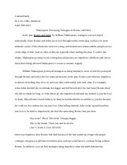 ELA Essay Romeo and Juliet