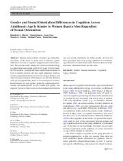 Gender and Sexual Orientation Differences in Cognition Across Adulthood Ag