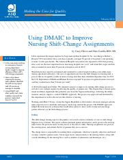 case - Six Sigma - Nurse Shift Change Assignment